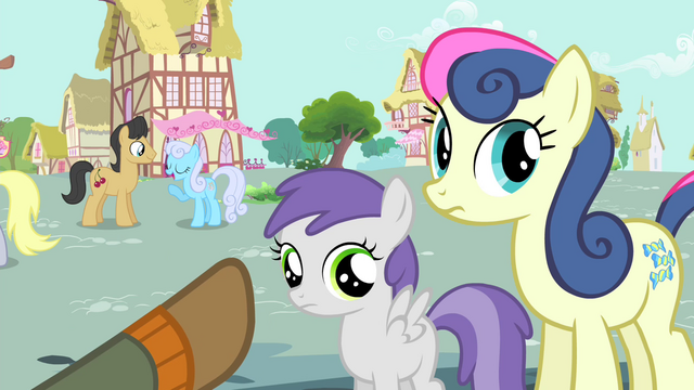 File:Trenderhoof pointing towards Sweetie Drops and a foal S4E13.png