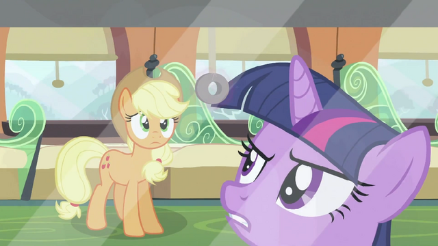 File:Twilight mad at Shining Armor while Applejack watches her S2E25.png