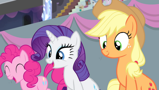 File:Pinkie, Rarity, and Applejack in the stands S4E24.png