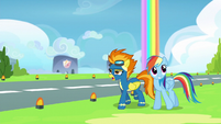 Spitfire explaining to Rainbow Dash S6E7