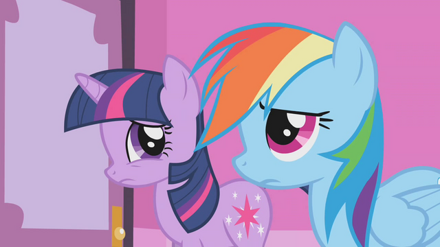 File:Twilight and Rainbow Dash listen to Rarity S1E14.png
