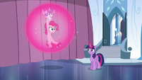 Twilight carrying Pinkie and Flurry Heart in a bubble S6E1