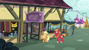 Applejack and Big Mac outside Rich's Barnyard Bargains S6E23