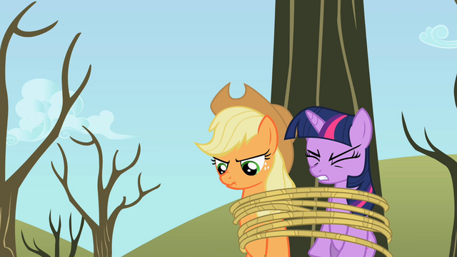 File:Applejack and Twilight tied to the tree S2E10.png