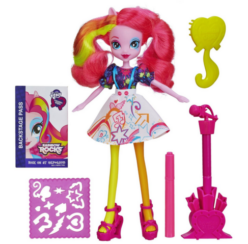File:Pinkie Pie Equestria Girls Rainbow Rocks designing skirt doll.png