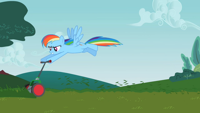 File:Rainbow Dash mowing the lawn S2E8.png
