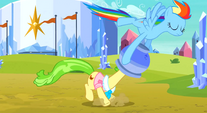 Rainbow pulling the flowerpot off Ms. Peachbottom's head S3E12