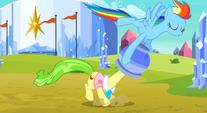 Rainbow pulling the flowerpot off Ms. Peachbottom's head S3E12