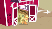 Applejack walking out of Sweet Apple Acres barn S5E3