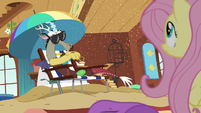 Discord blowing sand in Fluttershy's direction S6E17