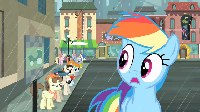 File:Rainbow notices the line of ponies S4E08.png