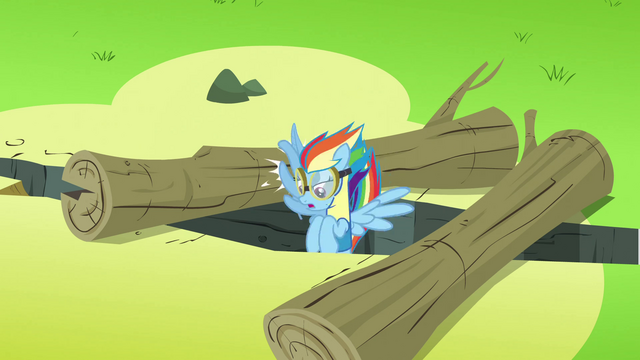 File:Rainbow Dash going between 2 logs S3E7.png