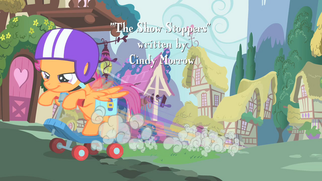 File:Scootaloo speeding by on her scooter S01E18.png
