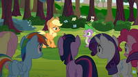 Applejack talks to Spike with other Main 6 S03E09