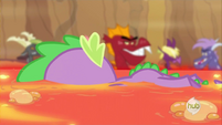 Spike swimming on belly S2E21