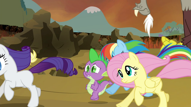File:Main cast, Spike and Discord running S4E26.png
