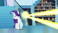 Rarity's mirror deflects the magic beam S6E2