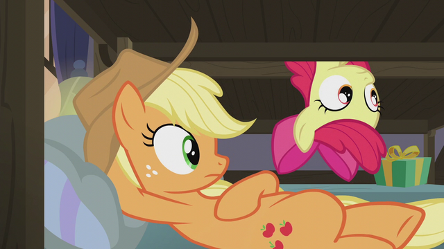 File:Applejack and Apple Bloom hear Pinkie S5E20.png