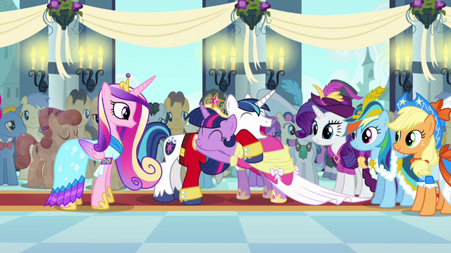 File:Twilight and Shining Armor laughing and hugging S03E13.png