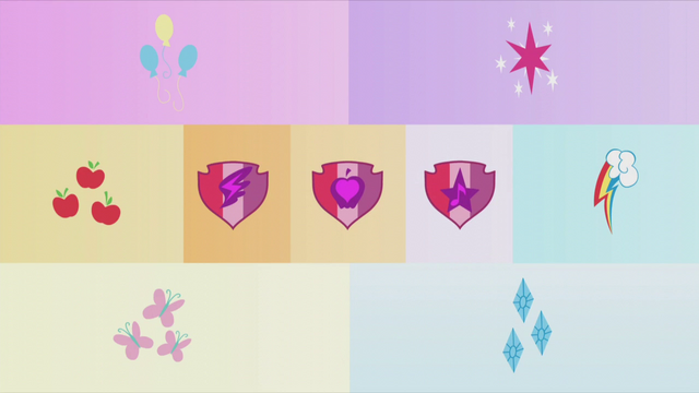 File:Collage shot of Mane Six and CMC's cutie marks S5E18.png