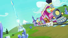 The Friendship Express with the Crystal Castle in the background S6E2.png