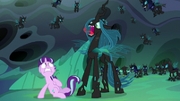 Queen Chrysalis suddenly appears behind Starlight S6E26