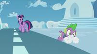 Spike falls through the cloud cover S5E25