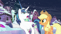 Shining Armor showing Crystal ponies the way S6E2