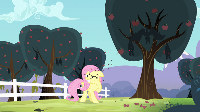 File:Fluttershy getting seeds spit at her S4E7.png