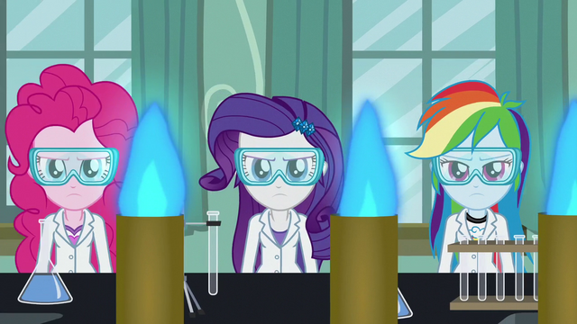 File:Pinkie, Rarity, and RD in goggles and lab coats EG3.png