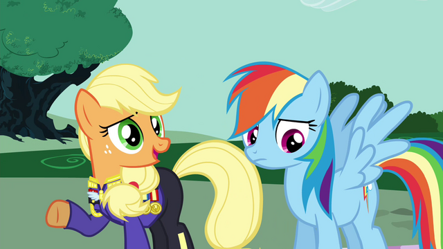 "File:Applejack ""How much time you got?"" S4E21.png"
