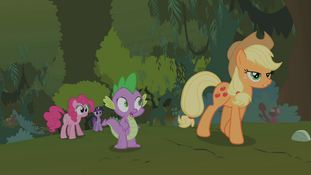 File:Applejack dismisses Pinkie Pie's and Spike's explosion theories S01E15.png