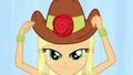 Applejack fitting her hat EG.png