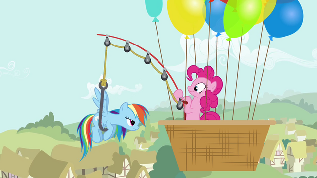 File:Pinkie Pie pulls Rainbow using a fishing rod S4E12.png
