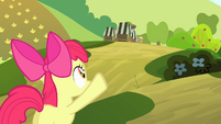 Apple Bloom waving at AJ S4E17