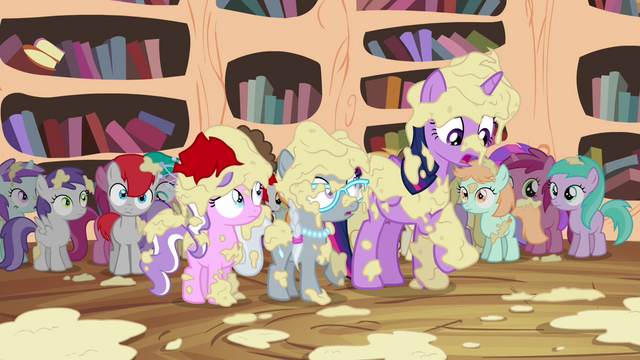 File:Twilight, Tiara, and Silver covered in applesauce S4E15.png