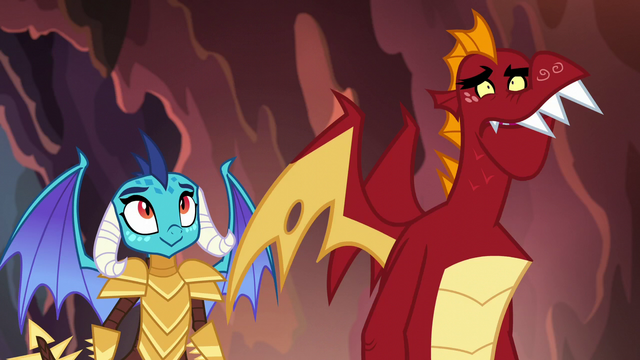 File:Ember smirking; Garble shocked S6E5.png