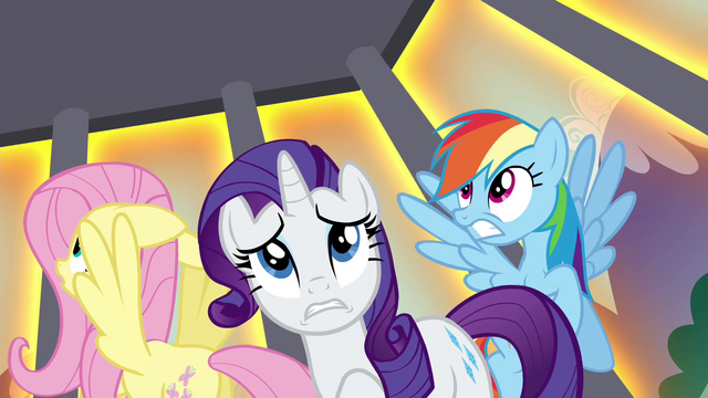 File:Rarity, Rainbow and Fluttershy sees their cage being levitated S4E26.png