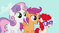Sweetie Belle, Scootaloo and Twist gasps S2E06.png