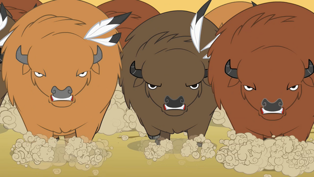 File:Buffalo charging Rainbow Dash and Pinkie S01E21.png