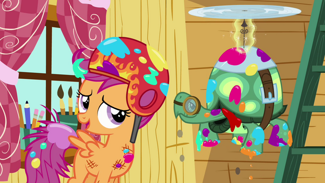 "File:Scootaloo and Tank ""forgot he could do that"" S03E11.png"