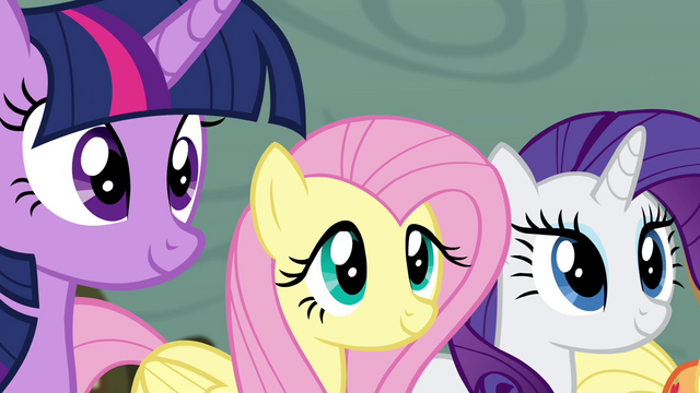 File:Twilight, Fluttershy, and Rarity smiling S4E18.png