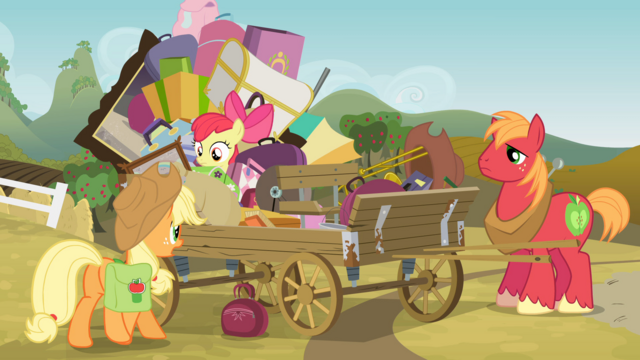 File:Applejack and siblings by wagon S4E09.png