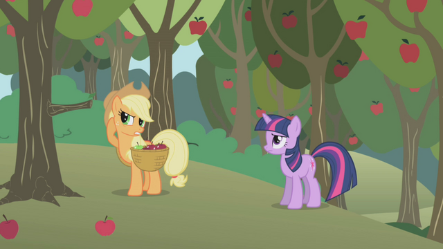 File:Applejack can't hear Twilight well S1E04.png