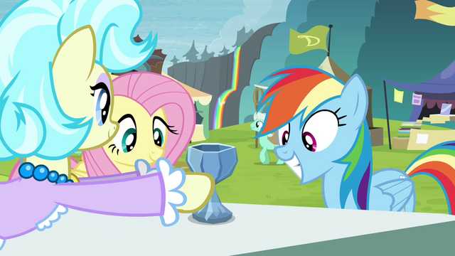 File:Trader gives RD and Fluttershy crystal chalice S4E22.png