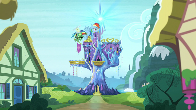 File:Rainbow flies away from Twilight's castle S5E5.png