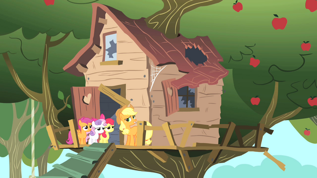 File:Applejack Cutie Mark Crusaders clubhouse S1E18.png