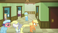 Applejack frantically runs up and down the hallway S6E23.png