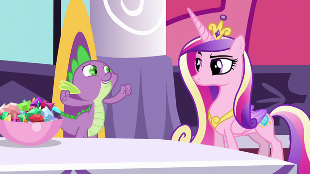 File:Cadance raising an eyebrow at Spike S5E10.png