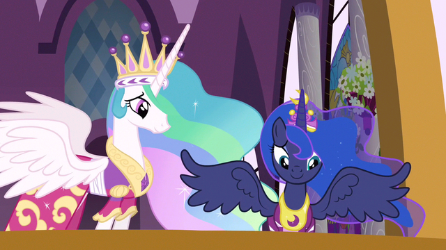 File:Princess Celestia & Princess Luna are very proud S3E13.png